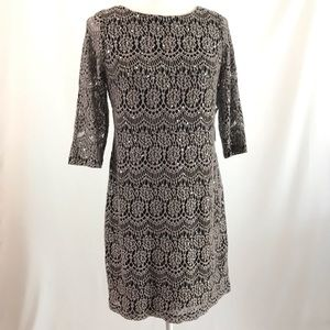 Lace dress black with taupe lace and glitter